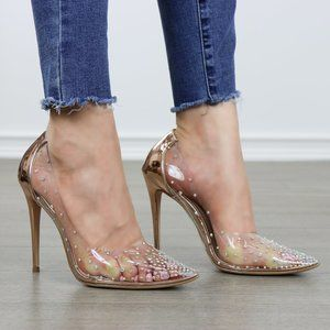 Clear Sparkle Rhinestones Party High Heels